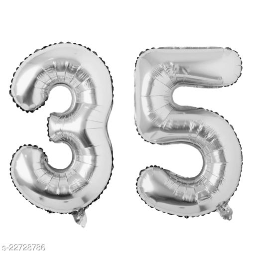 """16"""" Mylar Silver Foil Balloon for Birthday, Anniversary and Other Party Decoration ( Number - 35 )"""