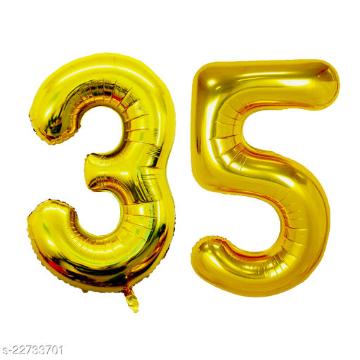 """16"""" Mylar Gold Foil Balloon for Birthday, Anniversary and Other Party Decoration ( Number - 35 )"""
