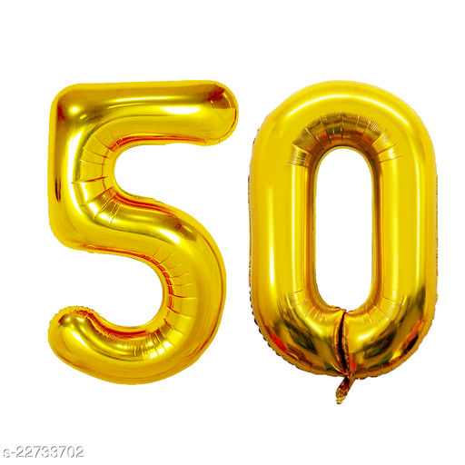 """16"""" Mylar Gold Foil Balloon for Birthday, Anniversary and Other Party Decoration ( Number - 50 )"""