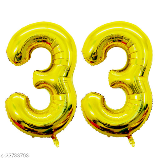 """16"""" Mylar Gold Foil Balloon for Birthday, Anniversary and Other Party Decoration ( Number - 33 )"""