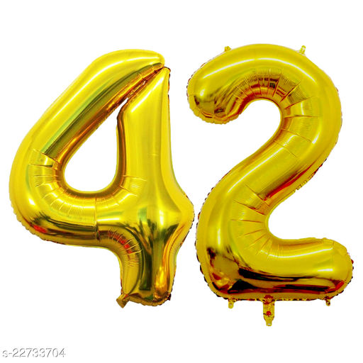 """16"""" Mylar Gold Foil Balloon for Birthday, Anniversary and Other Party Decoration ( Number - 42 )"""