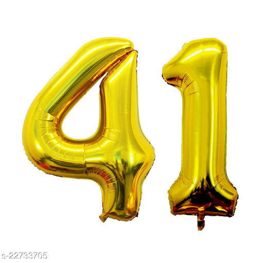 """16"""" Mylar Gold Foil Balloon for Birthday, Anniversary and Other Party Decoration ( Number - 41 )"""