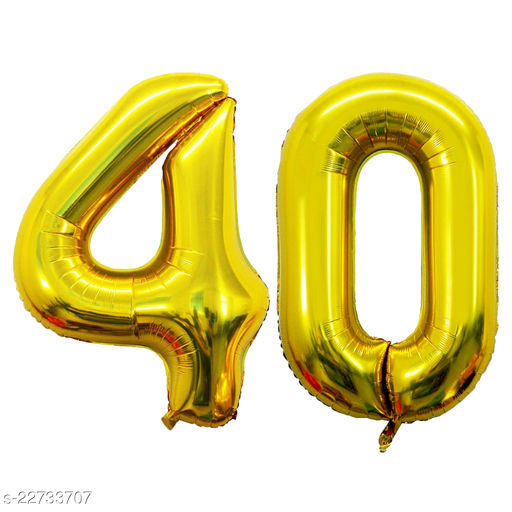 """16"""" Mylar Gold Foil Balloon for Birthday, Anniversary and Other Party Decoration ( Number - 40 )"""