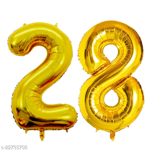 """16"""" Mylar Gold Foil Balloon for Birthday, Anniversary and Other Party Decoration ( Number - 28 )"""