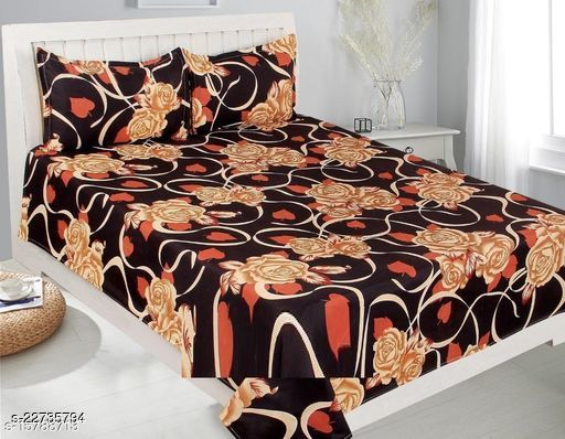 PST Beautiful New 3D Printed One Double Bedsheet with 2 Pillow Cover (Black)