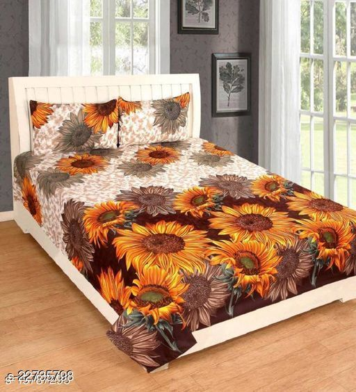 PST Beautiful New 3D Printed One Double Bedsheet with 2 Pillow Cover (Yellow)