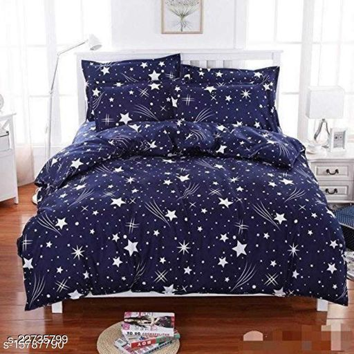 PST Beautiful New 3D Printed One Double Bedsheet with 2 Pillow Cover (Blue)