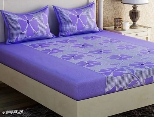 PST Beautiful New 3D Printed One Double Bedsheet with 2 Pillow Cover (Purple)