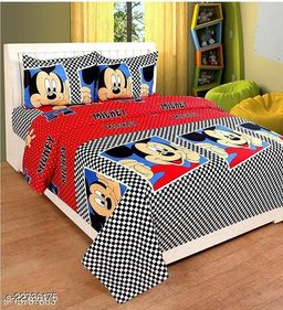 PST Beautiful New 3D Printed One Double Bedsheet with 2 Pillow Cover (Red)