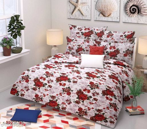 PST Beautiful New 3D Printed One Double Bedsheet with 2 Pillow Cover (White)