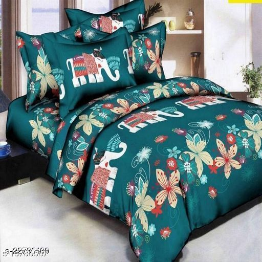 PST Beautiful New 3D Printed One Double Bedsheet with 2 Pillow Cover (Green)