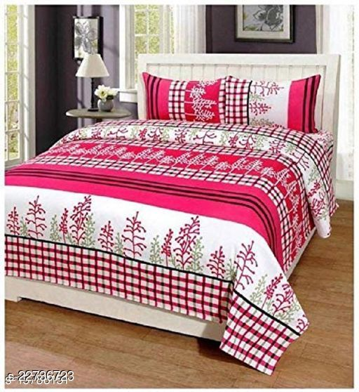 PST Beautiful New 3D Printed One Double Bedsheet with 2 Pillow Cover (Pink)