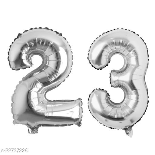 """16"""" Mylar Silver Foil Balloon for Birthday, Anniversary and Other Party Decoration ( Number - 23 )"""