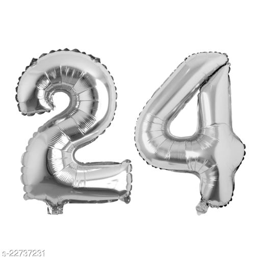 """16"""" Mylar Silver Foil Balloon for Birthday, Anniversary and Other Party Decoration ( Number - 24 )"""