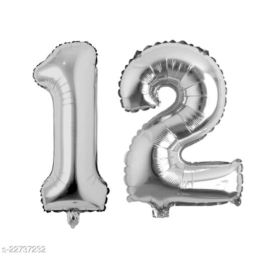 """16"""" Mylar Silver Foil Balloon for Birthday, Anniversary and Other Party Decoration ( Number - 12 )"""