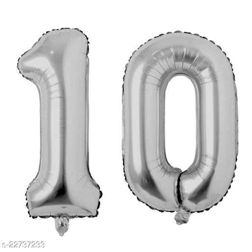 """16"""" Mylar Silver Foil Balloon for Birthday, Anniversary and Other Party Decoration ( Number - 10 )"""
