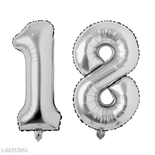 """16"""" Mylar Silver Foil Balloon for Birthday, Anniversary and Other Party Decoration ( Number - 18 )"""