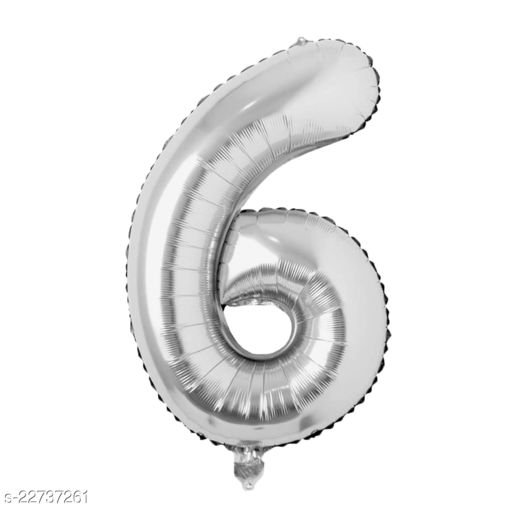 """16"""" Mylar Silver Foil Balloon for Birthday, Anniversary and Other Party Decoration ( Number - 6 )"""