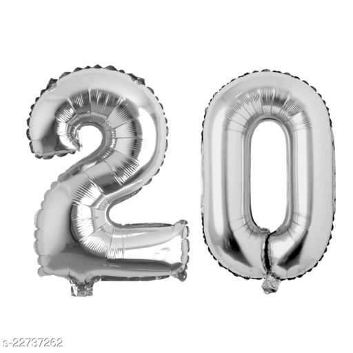 """16"""" Mylar Silver Foil Balloon for Birthday, Anniversary and Other Party Decoration ( Number - 20 )"""