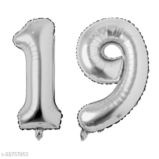 """16"""" Mylar Silver Foil Balloon for Birthday, Anniversary and Other Party Decoration ( Number - 19 )"""