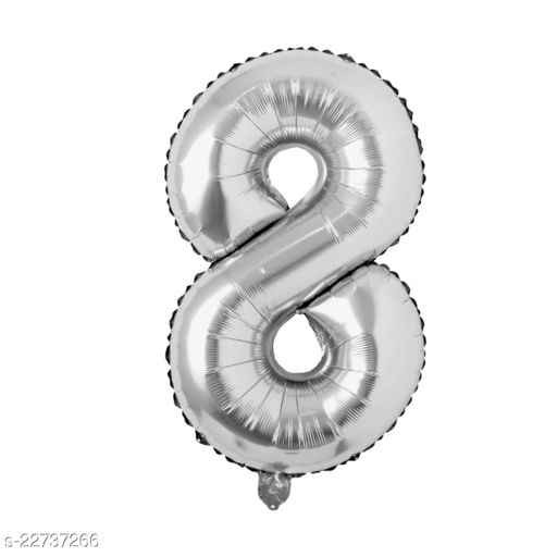 """16"""" Mylar Silver Foil Balloon for Birthday, Anniversary and Other Party Decoration ( Number - 8 )"""