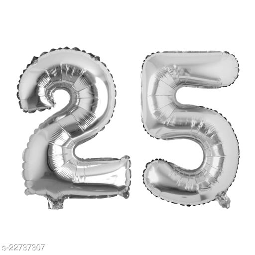 """16"""" Mylar Silver Foil Balloon for Birthday, Anniversary and Other Party Decoration ( Number - 25 )"""