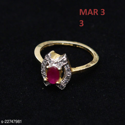 Latest Design Polki Ring Oval Ruby ,Cubic Zircon Orange-White Intricately Handcrafted in Yellow Gold Plated Rich Designer Jewellery for Girls Ladies Women 43893