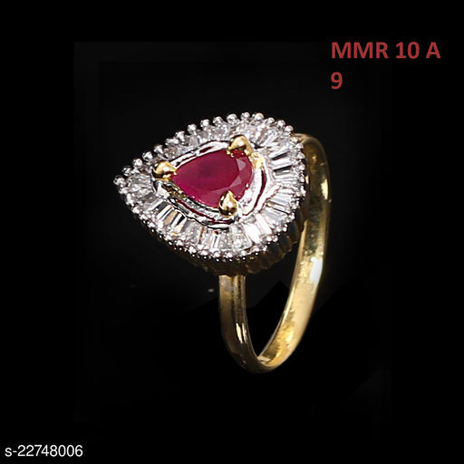 Beautiful Design Polki Ring Pear Ruby, Cubic Zircon Red-White Indian Handmade Gold Plated Designer Jewellery for Girls Ladies Women MMR 10 A-RED