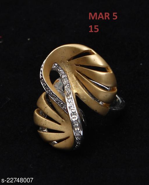 Beautiful Design Polki Ring Round Cubic Zircon White Indian Handmade 18K Gold Plated Fashion Jewellery for Girls Ladies Women 43895