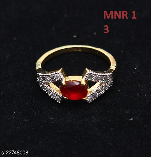 Latest Design Cocktail Ring Oval Ruby, Cubic Zircon White-Gold Intricately Handcrafted in Yellow Gold Plated Stylish Jewellery for Girls Ladies Women MNR 1-RED