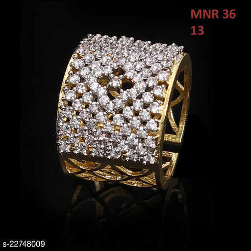 Latest Design Clutster Style Ring Pear Cubic Zircon White Intricately Handcrafted in Gold Plated Fashion Designer Jewellery for Girls Ladies Women MNR 36