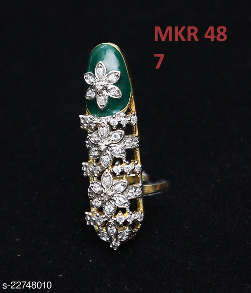 Beautiful Design Cocktail Ring Pear Emerald,Cubic Zircon Multi-Color Indian Handmade Yellow Gold Plated Designer Jewellery for Girls Ladies Women MKR 48-GREEN