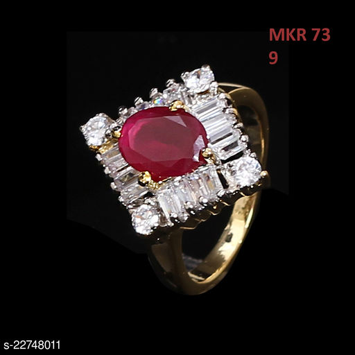 Indian Traditional Enamel Work Ring Oval Ruby, Cubic Zircon Red-White Gorgeous Gold Plated Designer Jewellery for Girls Ladies Women MKR 73-PINK
