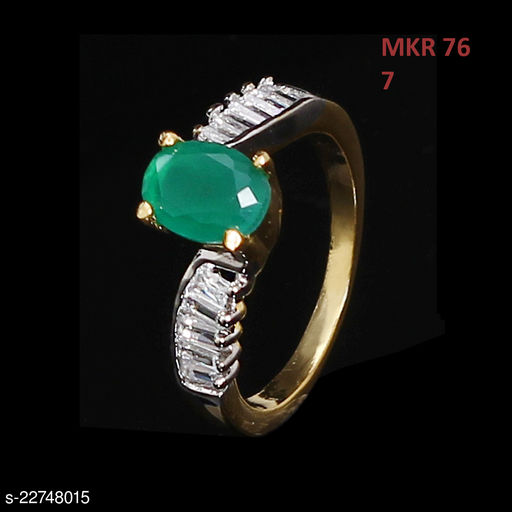 Unique Design Ethnic Ring Oval Emerald,Cubic Zircon Green-White Intricately Handcrafted in 18K Gold Plated Hand Jewellery for Girls Ladies Women MKR 76-GREEN