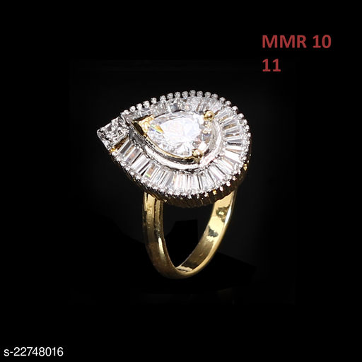 Indian Traditional Cocktail Ring Pear Cubic Zircon White Gorgeous 18K Gold Plated Fashion Jewellery for Girls Ladies Women MMR 10-WHITE