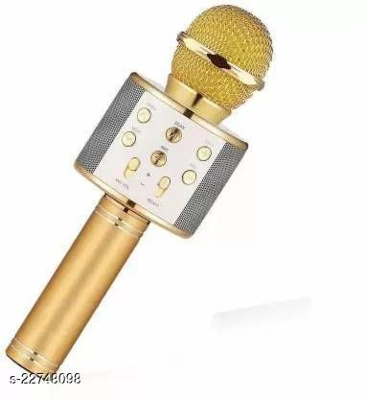 Quality Wireless microphone hifi speaker Bluetooth Mic  (Blue, Golden)