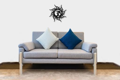 Om Design Round Shape Wall Hanging, Wooden, Black Matte