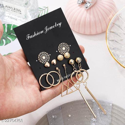 Arzonai European and American new style earrings set creative hollow pattern geometric earrings simple heart-shaped cross-border earrings wholesale