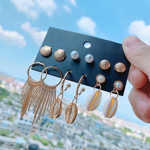 Arzonai Hawaiian style combination shell earrings set fashion popular tassel metal earrings female pearl earrings