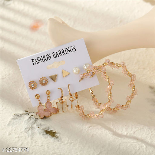 Arzonai Cross-border new woven crystal earrings female pink butterfly tassel earrings 6 pairs combination multi-piece set metal earrings