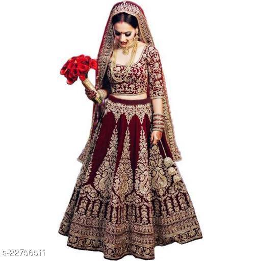 VIDYA FASHION Bridal Designer Women's Velvet Semi Stitched Lehenga Choli ( LIZZA-MAROON-NEW-LEHENGA_Maroon_Free Size)