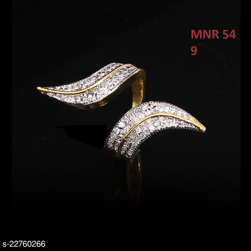 Ethnic Design Ethnic Ring Pear Cubic Zircon White Unique 18K Gold Plated Hand Jewellery for Girls Ladies Women MNR 54