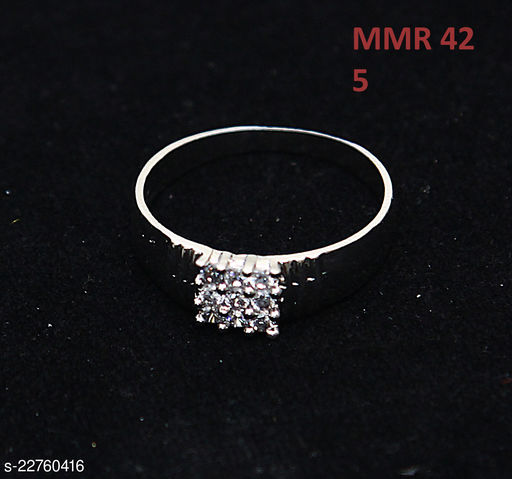 Ethnic Design Enamel Work Ring Square Cubic Zircon White Unique Gold Plated Hand Jewellery for Girls Ladies Women MMR 42