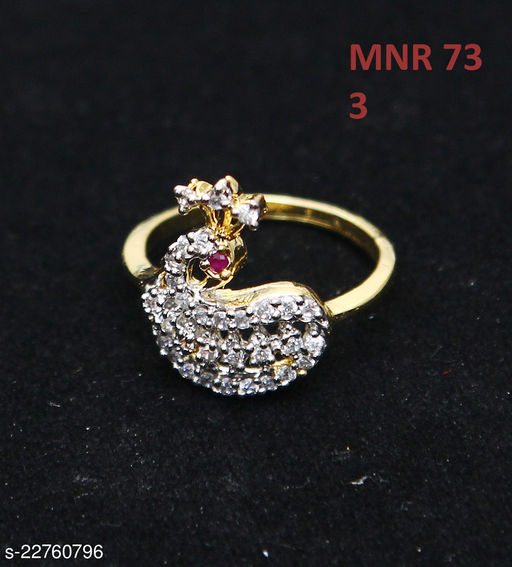Ethnic Design Cocktail Ring Pear Ruby, Cubic Zircon Pink-White Unique Yellow Gold Plated Fashion Jewellery for Girls Ladies Women MNR 73