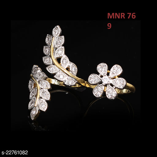 Unique Design Ethnic Ring Pear Cubic Zircon White Intricately Handcrafted in Yellow Gold Plated Hand Jewellery for Girls Ladies Women MNR 76