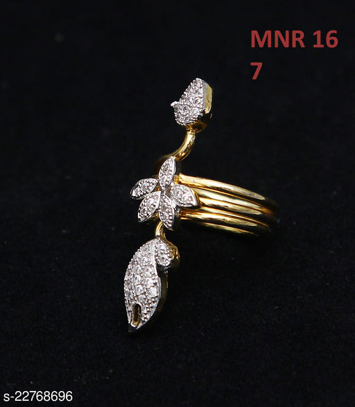 Beautiful Design Polki Ring Pear Cubic Zircon White Indian Handmade 14K Gold Plated Stylish Jewellery for Girls Ladies Women MNR 16