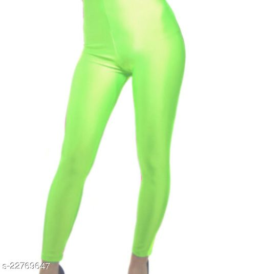 BEST SELLING WOMEN SKINY SHINING LEGGINGS NEON GREEN