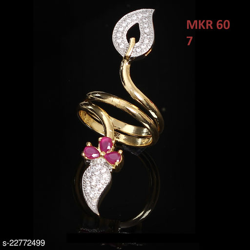 Ethnic Design Ethnic Ring Pear Ruby, Cubic Zircon Pink-White Unique Yellow Gold Plated Hand Jewellery for Girls Ladies Women MKR 60-RED
