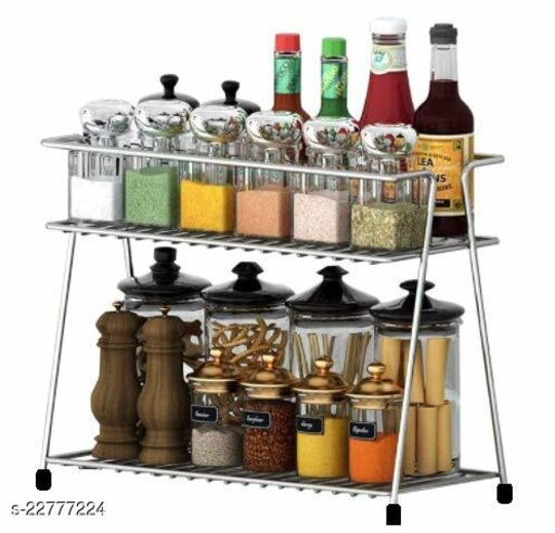 Maxtan Steel Spice 2-Tier Trolley Container Organizer Organiser, Basket for Boxes Utensils Dishes Plates for Home (Multipurpose Kitchen Storage Shelf Shelves Holder Stand Rack)