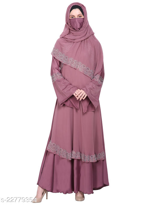 Binish Women's Imported Soft Nida and Georgette Fabric Stone and Beads work Abaya Burkha with Dupatta and Adjustable Belt Also.